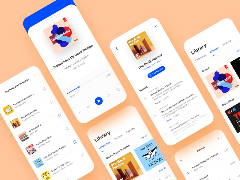 Free Podcast App UI Kit for Adobe XD