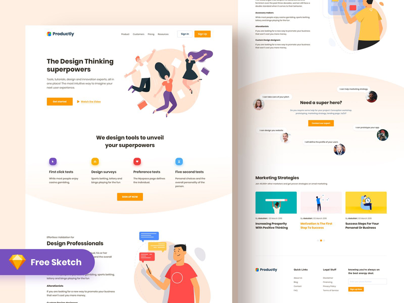 Productly — Free Landing Page for Sketch