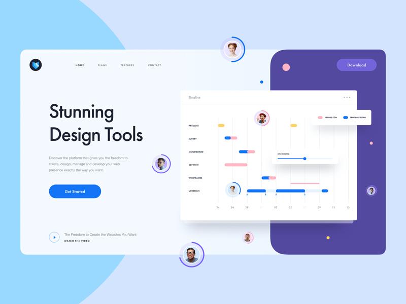 Design Tool Landing Page Freebie