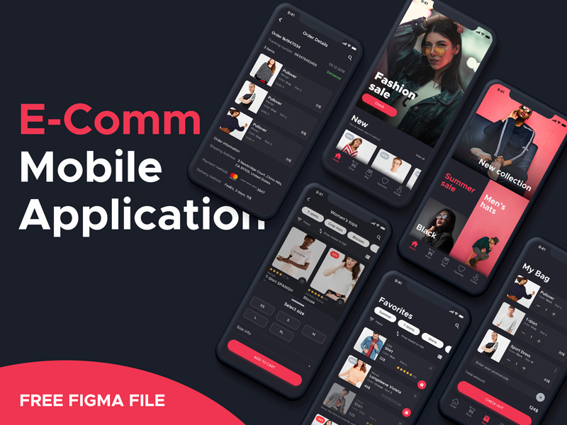 E-comm Mobile Application Free UI Kit