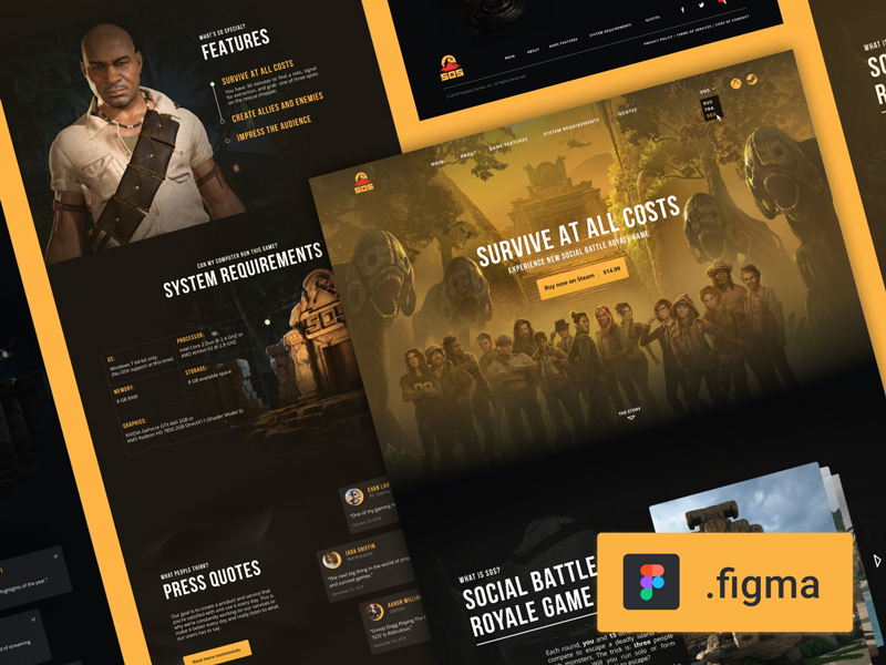 Free Game Landing Page for Figma