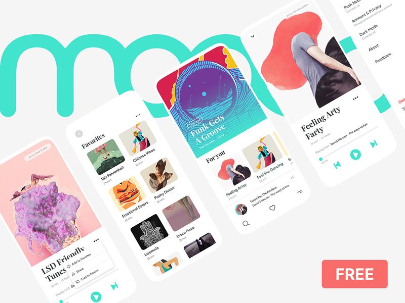 Moood — Music App UI Kit for Adobe XD