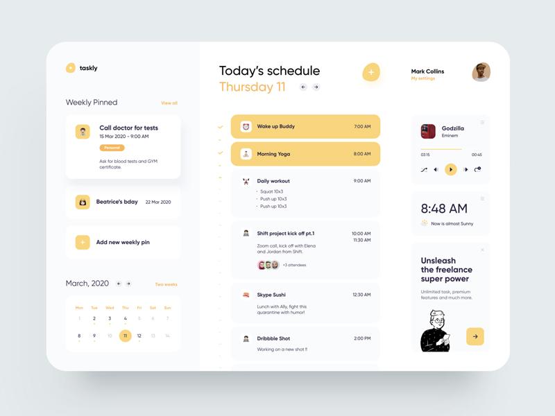 Freelancer Schedule Web App Free UI Kit