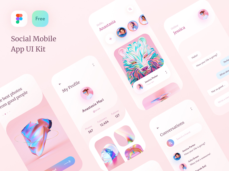 Free Social App UI Kit for Figma