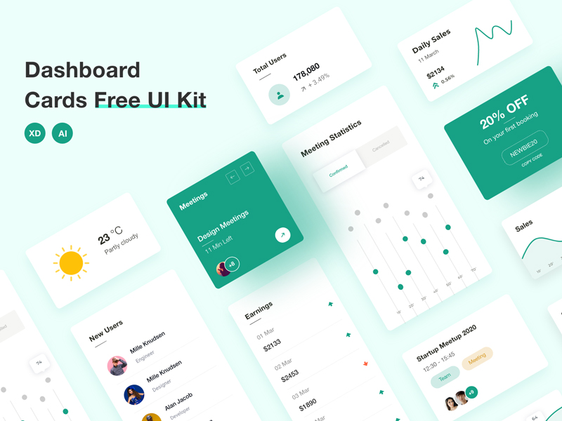 Dashboard Cards Free UI Kit