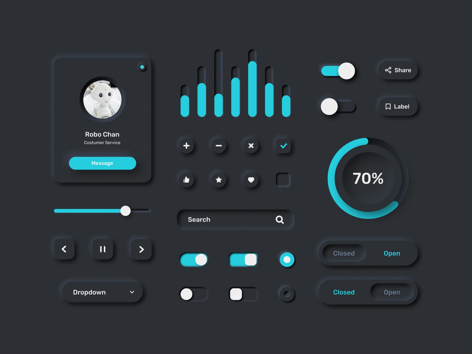 Neumorphism UI Kit for Figma