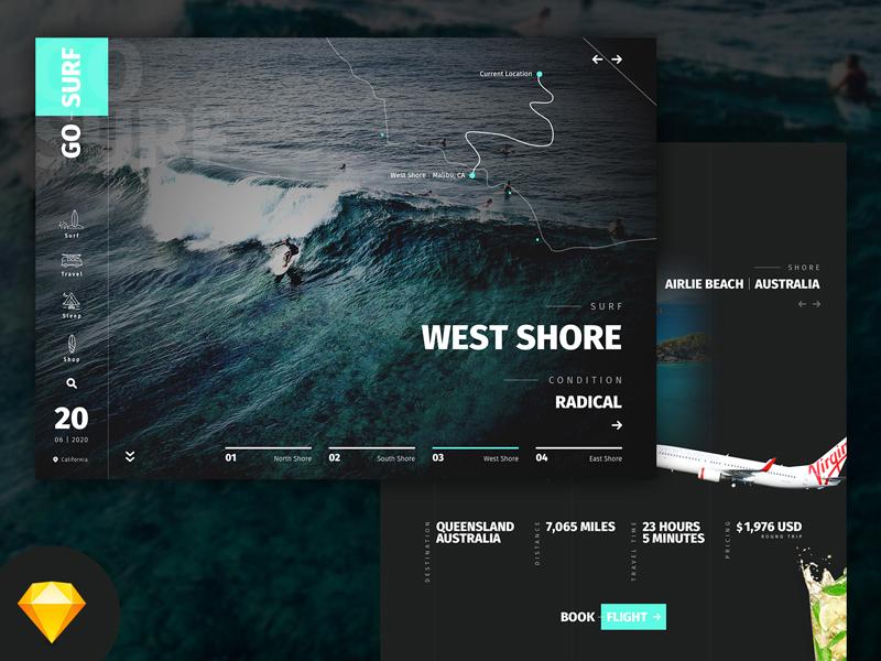 GoSurf Sketch Mockup Free Website Template