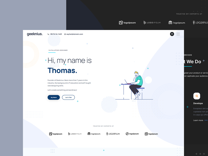 Geeknius — Creative Resume Website Template for Figma