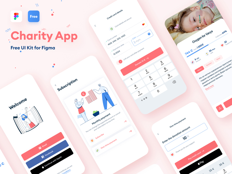 Make sure to take a look at this beautifully designed free UI kit from Anastasiia Kondratenko. Designed for charity apps it includes all necessary screens and components needed for your next charity and non-profit related projects. Freebie is provided in Figma file format. Again, thanks to Anastasiia Kondratenko for creating and sharing this free UI kit.