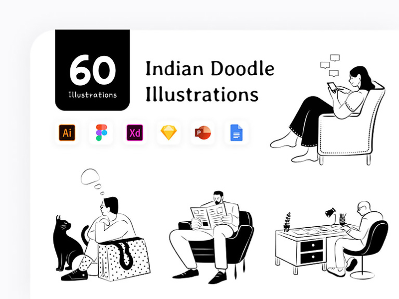 Indian Doodle Free Illustration Pack
