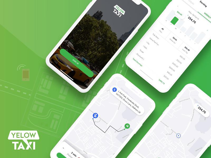 Uber-like Taxi Hailing Driver App UI for Adobe XD