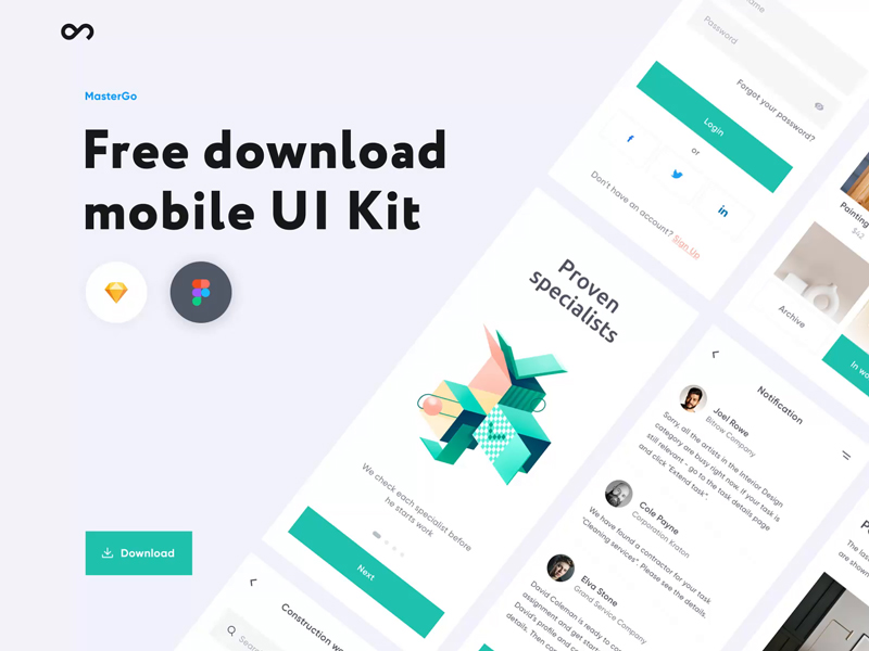 MasterGo — Free UI Kit for Sketch and Figma