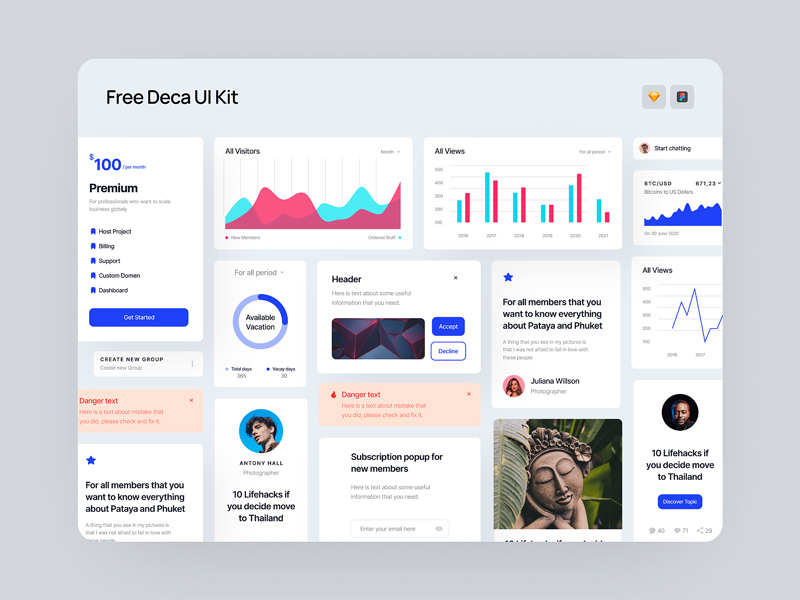 Deca Free UI Kit for Figma and Sketch