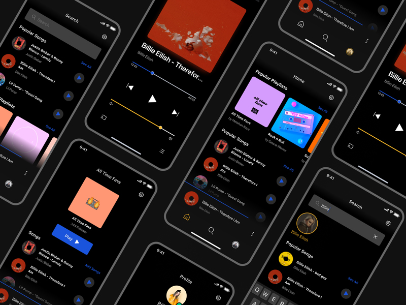 Free Music App UI Design Kit for Figma