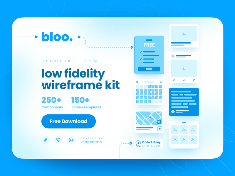 Bloo — Low Fidelity Free Wireframe Kit